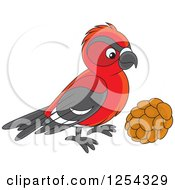 Clipart Of A Red Crossbill Bird Royalty Free Vector Illustration by Alex Bannykh