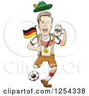 Clipart Of A Happy German Soccer Sports Fan Cheering Royalty Free Vector Illustration