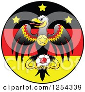 German Eagle With A Medal And Soccer Ball Over A Flag Circle