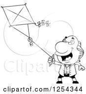 Clipart Of Black And White Benjamin Franklin Flying A Kite Royalty Free Vector Illustration by Cory Thoman