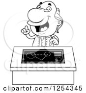 Clipart Of Black And White Benjamin Franklin Talking At A Desk Royalty Free Vector Illustration