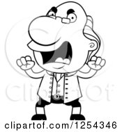 Clipart Of Black And White Mad Benjamin Franklin Waving Fists Royalty Free Vector Illustration