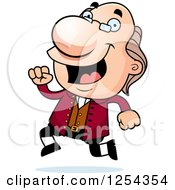 Clipart Of Benjamin Franklin Running Royalty Free Vector Illustration by Cory Thoman