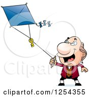 Clipart Of Benjamin Franklin Flying A Kite Royalty Free Vector Illustration
