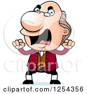 Clipart Of Mad Benjamin Franklin Waving Fists Royalty Free Vector Illustration by Cory Thoman