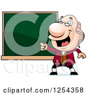Clipart Of Benjamin Franklin Pointing To A Chalkboard Royalty Free Vector Illustration by Cory Thoman