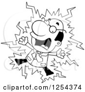 Clipart Of A Black And White Scientist Getting Shocked Royalty Free Vector Illustration by Cory Thoman