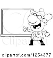 Clipart Of A Black And White Mad Scientist Pointing To A Chalk Board Royalty Free Vector Illustration by Cory Thoman