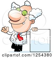 Clipart Of A Mad Scientist Waving By A Blank Sign Royalty Free Vector Illustration