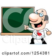 Clipart Of A Scientist Pointing To A Chalk Board Royalty Free Vector Illustration by Cory Thoman