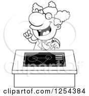 Clipart Of A  Black And White Mad Scientist Talking At A Desk  Royalty Free Vector Illustration