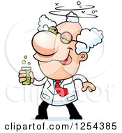 Clipart Of A Drunk Mad Scientist Royalty Free Vector Illustration