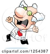 Clipart Of A Mad Scientist Running Scared Royalty Free Vector Illustration