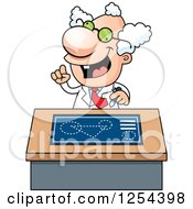 Clipart Of A Mad Scientist Talking At A Desk Royalty Free Vector Illustration