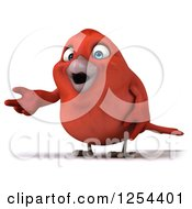 Clipart Of A 3d Red Bird Presenting Royalty Free Illustration