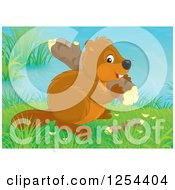 Clipart Of A Cute Beaver Carrying A Log Royalty Free Illustration by Alex Bannykh