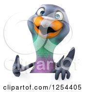 Clipart Of A 3d Pigeon Holding A Thumb Up Over A Sign Royalty Free Illustration