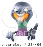 Clipart Of A 3d Pigeon Holding A Pointing Down Over A Sign Royalty Free Illustration