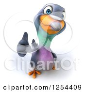 Clipart Of A 3d Pigeon Holding A Thumb Up Royalty Free Illustration