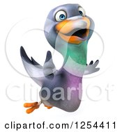 Clipart Of A 3d Pigeon Giving A Thumb Up And Flying Royalty Free Illustration