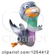 Clipart Of A 3d Pigeon Giving A Thumb Down And Flying Royalty Free Illustration