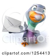Clipart Of A 3d Pigeon Holding And Pointing To An Envelope Royalty Free Illustration