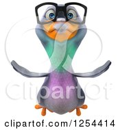 Clipart Of A 3d Bespectacled Pigeon Flying Royalty Free Illustration