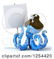 Clipart Of A 3d Blue Octopus Pirate Holding A Blank Sign Royalty Free Illustration