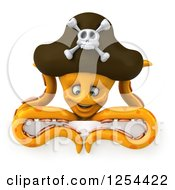 Clipart Of A 3d Happy Orange Octopus Pirate Over A Sign Royalty Free Illustration