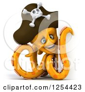 Clipart Of A 3d Happy Orange Octopus Pirate Smiling Around A Sign Royalty Free Illustration