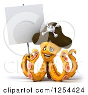 Clipart Of A 3d Happy Orange Octopus Pirate Holding A Blank Sign Royalty Free Illustration