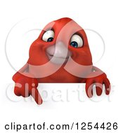 Clipart Of A 3d Red Bird Pointing Down Over A Sign Royalty Free Illustration
