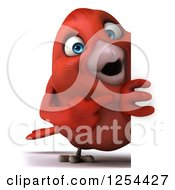 Clipart Of A 3d Red Bird Pointing Around A Sign Royalty Free Illustration