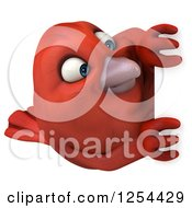 Clipart Of A 3d Red Bird Looking Around A Sign Royalty Free Illustration