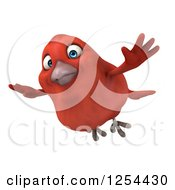 Clipart Of A 3d Red Bird Flying Royalty Free Illustration