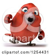 Clipart Of A 3d Red Bird Walking Royalty Free Illustration
