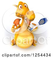 Clipart Of A 3d Yellow Dragon Holding A Thumb Up And Toothbrush Royalty Free Illustration