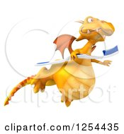 Clipart Of A 3d Yellow Dragon Flying With A Toothbrush Royalty Free Illustration