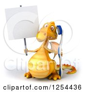 Clipart Of A 3d Yellow Dragon Holding A Blank Sign And Toothbrush Royalty Free Illustration