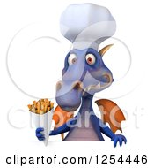 Clipart Of A 3d Purple Chef Dragon Holding French Fries Over A Sign Royalty Free Illustration