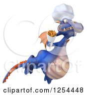 Clipart Of A 3d Purple Chef Dragon Flying With French Fries Royalty Free Illustration