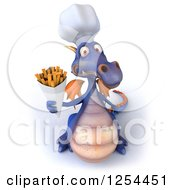 Clipart Of A 3d Purple Chef Dragon Holding Up French Fries Royalty Free Illustration