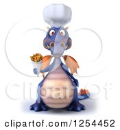 Clipart Of A 3d Purple Chef Dragon Holding French Fries Royalty Free Illustration