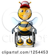 Clipart Of A 3d Handicap Bee Wearing A Baseball Cap In A Wheelchair Royalty Free Illustration