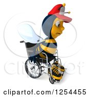 Clipart Of A 3d Sad Handicap Bee Wearing A Baseball Cap In A Wheelchair 2 Royalty Free Illustration