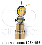Clipart Of A 3d Bee Pushing Boxes On A Dolly Royalty Free Illustration
