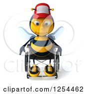 Clipart Of A 3d Sad Handicap Bee Wearing A Baseball Cap In A Wheelchair Royalty Free Illustration