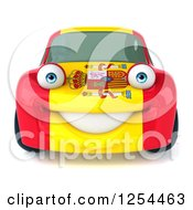 Clipart Of A 3d Spanish Flag Porsche Car Character Royalty Free Illustration