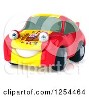 Clipart Of A 3d Spanish Flag Porsche Car Character 2 Royalty Free Illustration