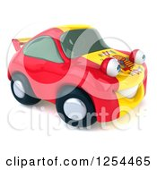 Clipart Of A 3d Spanish Flag Porsche Car Character 3 Royalty Free Illustration